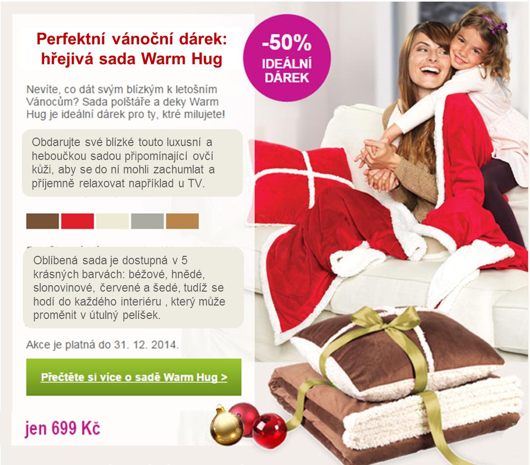 Vánoční sleva 50% na hřejivou soupravu polštáře s přikrývky Warm Hug.